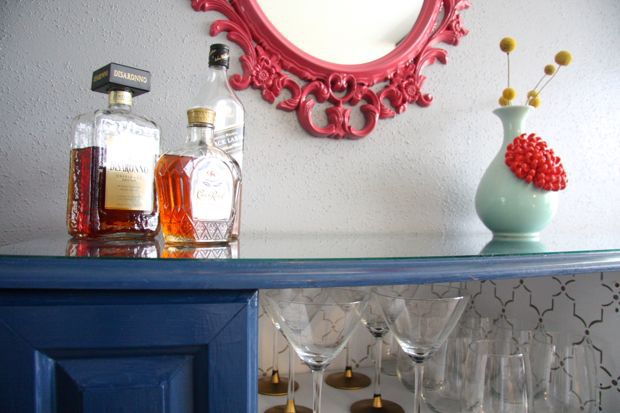 DIY thrifted bar cart