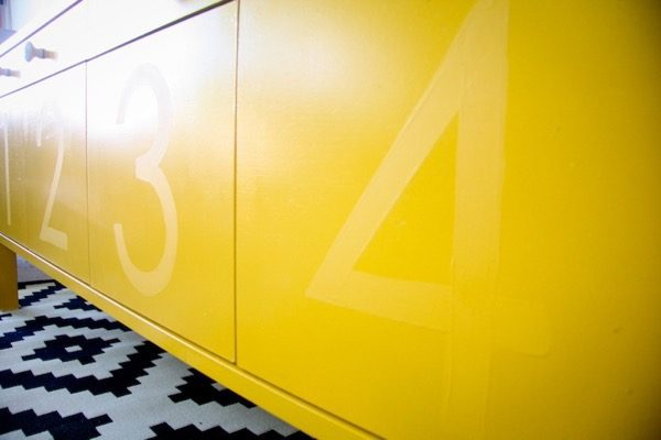 IKEA sideboard with numbers