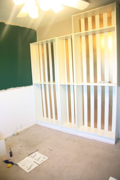 installing Billy bookcases built in