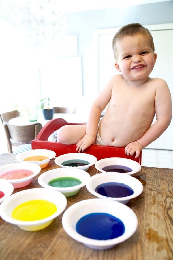 dyeing Easter eggs with toddlers