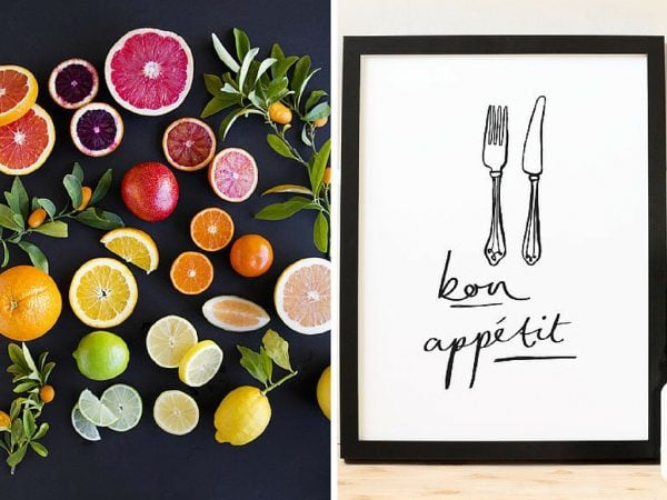 fruit art print and silverware print for kitchen art