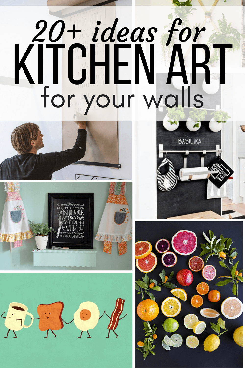 Collage of kitchen art ideas