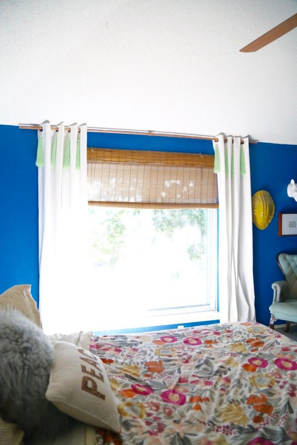 bedroom with DIY copper curtain rod