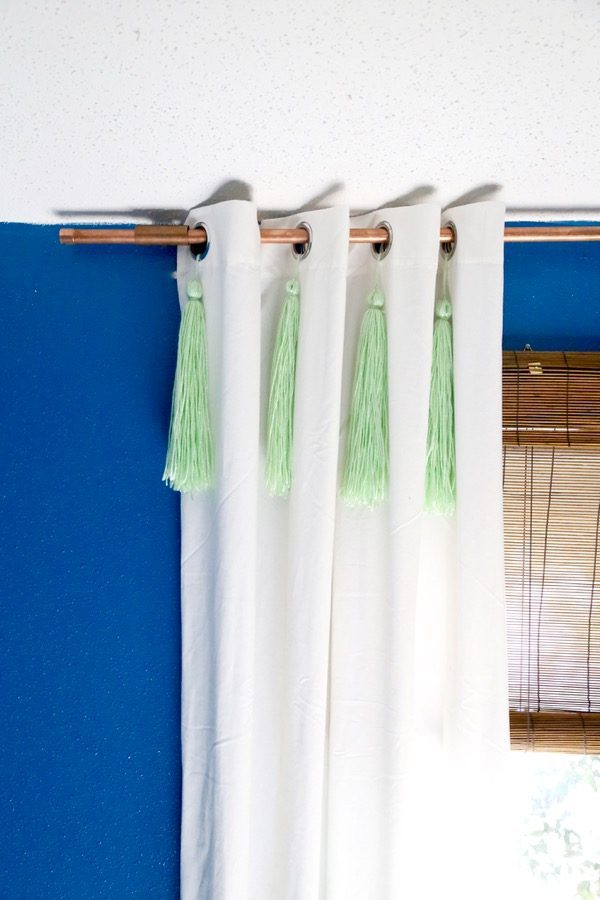 simple, industrial copper curtain rod