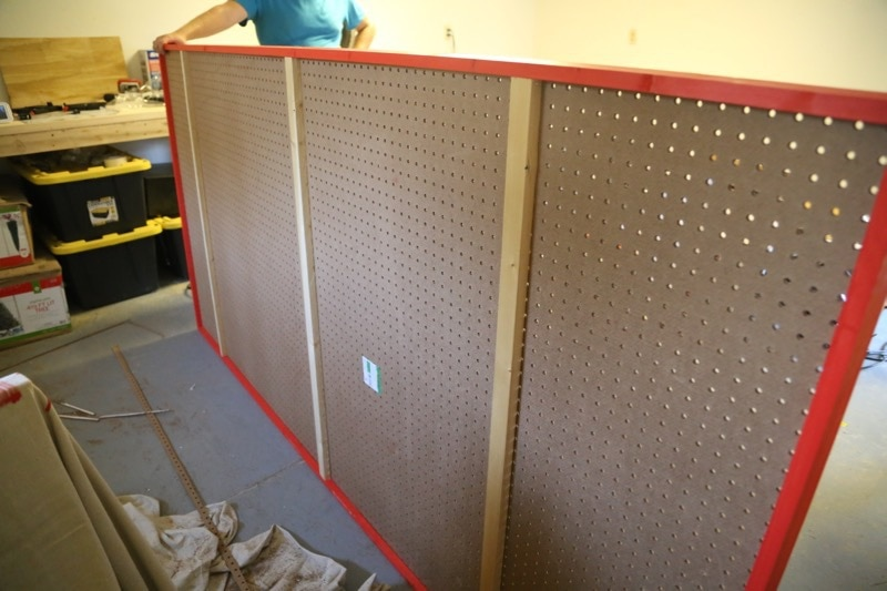 creating a large pegboard wall