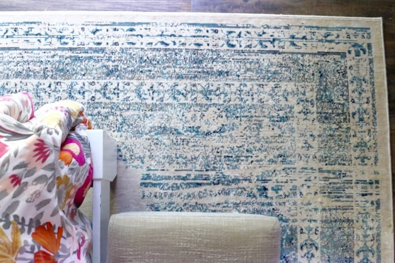 This rug is so gorgeous! It's the Beaumont Medallion rug from Rugs USA, and it layers perfectly into this room. It's great for a room with a lot of pattern/color and it's SO soft underfoot!