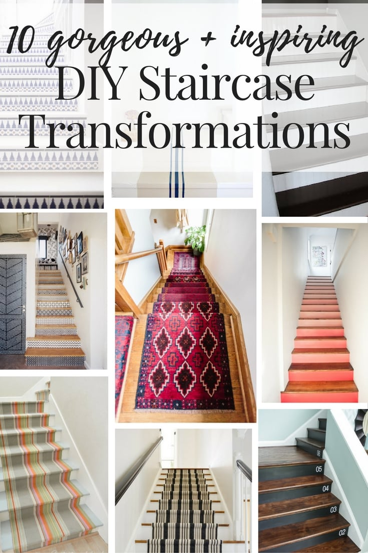 staircase makeover ideas collage