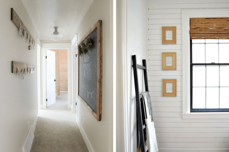 Collage of two hallway images - one is plain white with a large chalkboard and one has shiplap on the walls