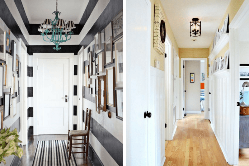Collage of two hallway images - the left side has black and white stripes on the walls and the right side has board and batten