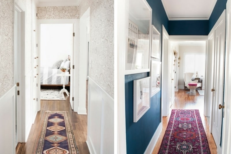 Collage of two images of narrow hallways. The left side has floral wallpaper and a pink and blue runner, the right side has dark blue walls and a bright runner