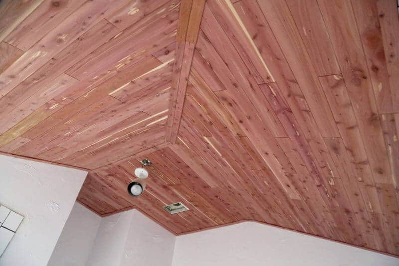 how to install a planked cedar ceiling in a bathroom