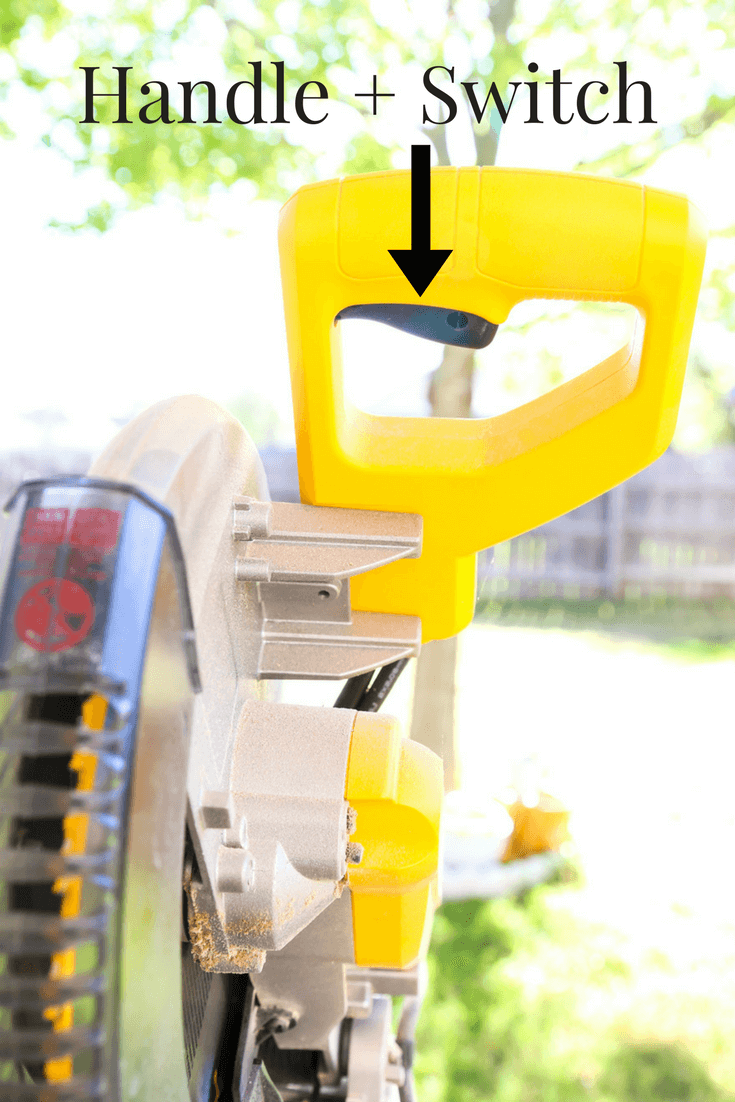 Miter saw with parts labeled - close up of handle and switch