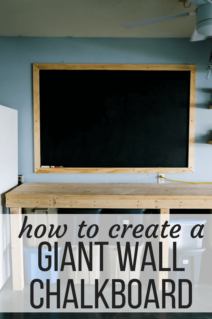 "After photo of a large chalkboard with text overlay ""how to create a giant wall chalkboard"""