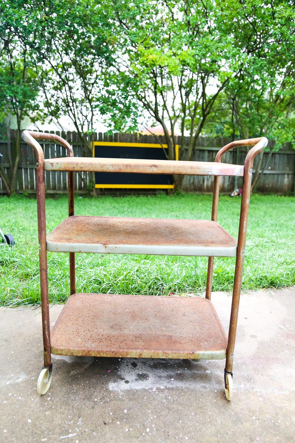 Rusty vintage bar cart