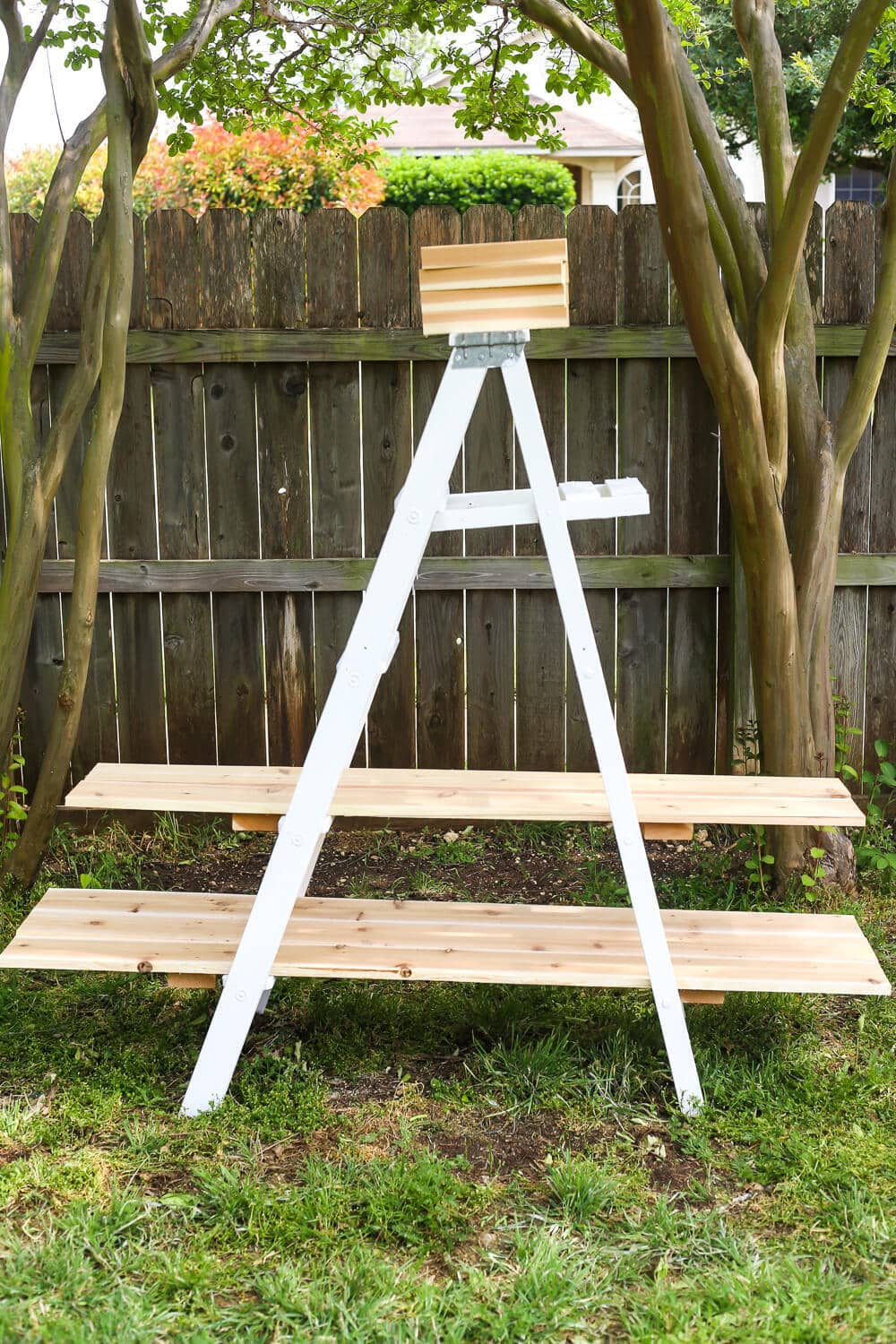 Cedar shelves for ladder plant stand