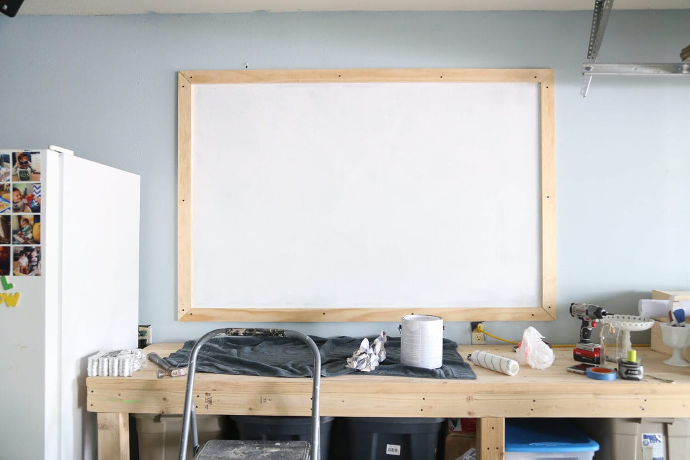 DIY chalkboard framed and primed