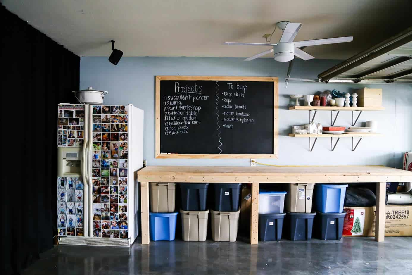 Ideas for how to organize your garage and turn it into a space where you can work on projects, build, and store whatever you need - and keep it looking nice, too!
