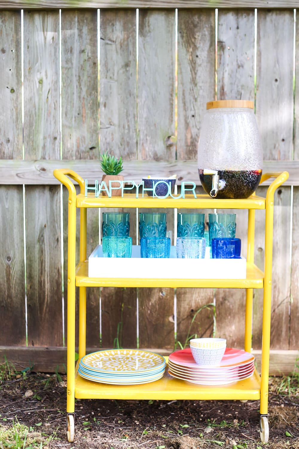 Gorgeous DIY backyard bar cart
