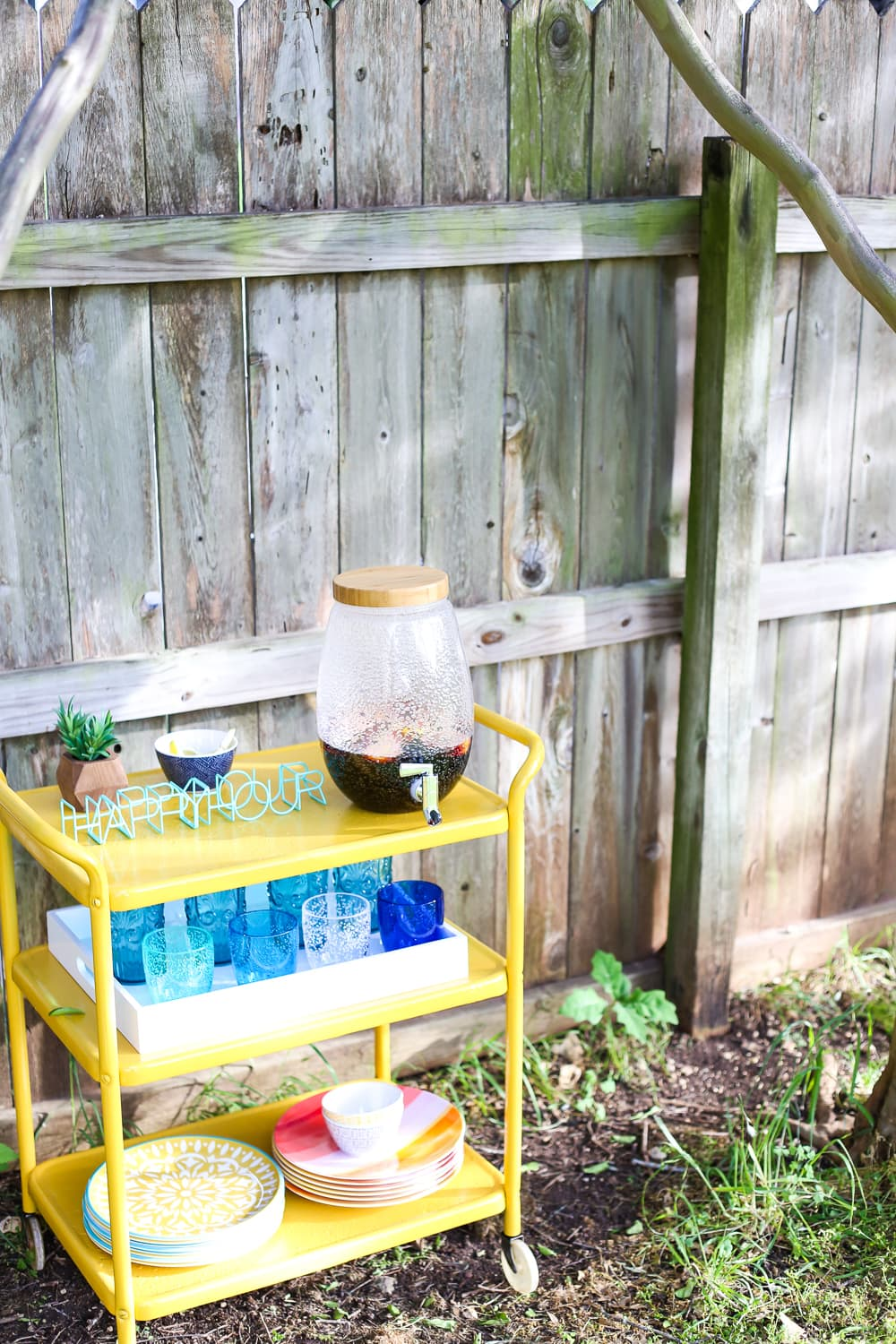 A beautiful backyard bar cart makeover