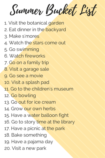 A kid and toddler-friendly summer bucket list with fun ideas for activities to do as a family with your kids this summer.
