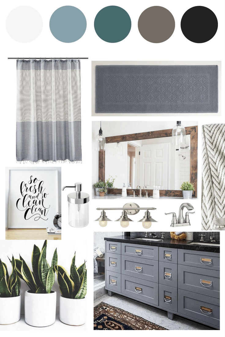 A serene and cozy bathroom plan. Great ideas for how to renovate a bathroom in a weekend and some gorgeous inspiration for a moody blue bathroom.