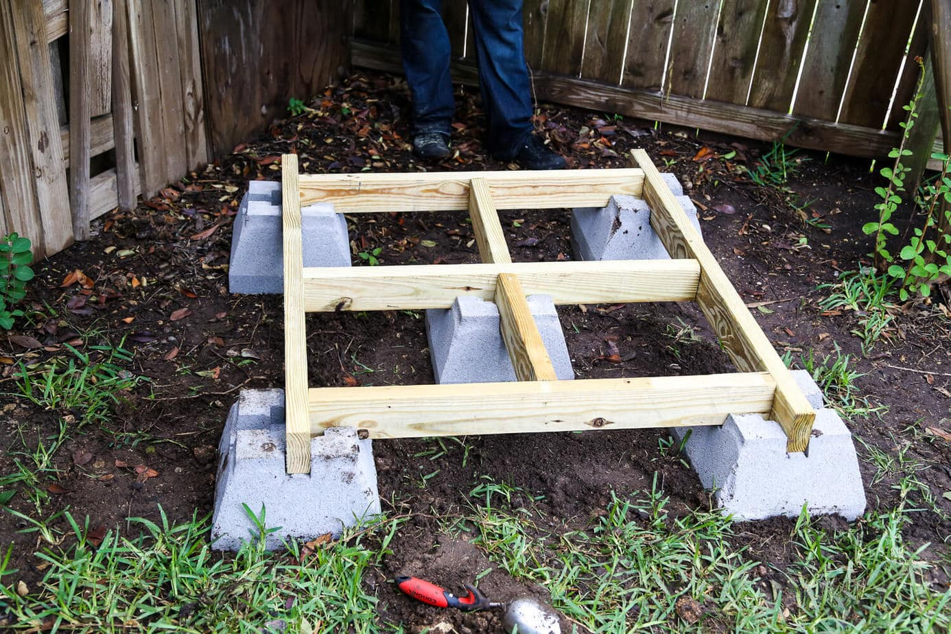 Framing for playhouse with concrete blocks
