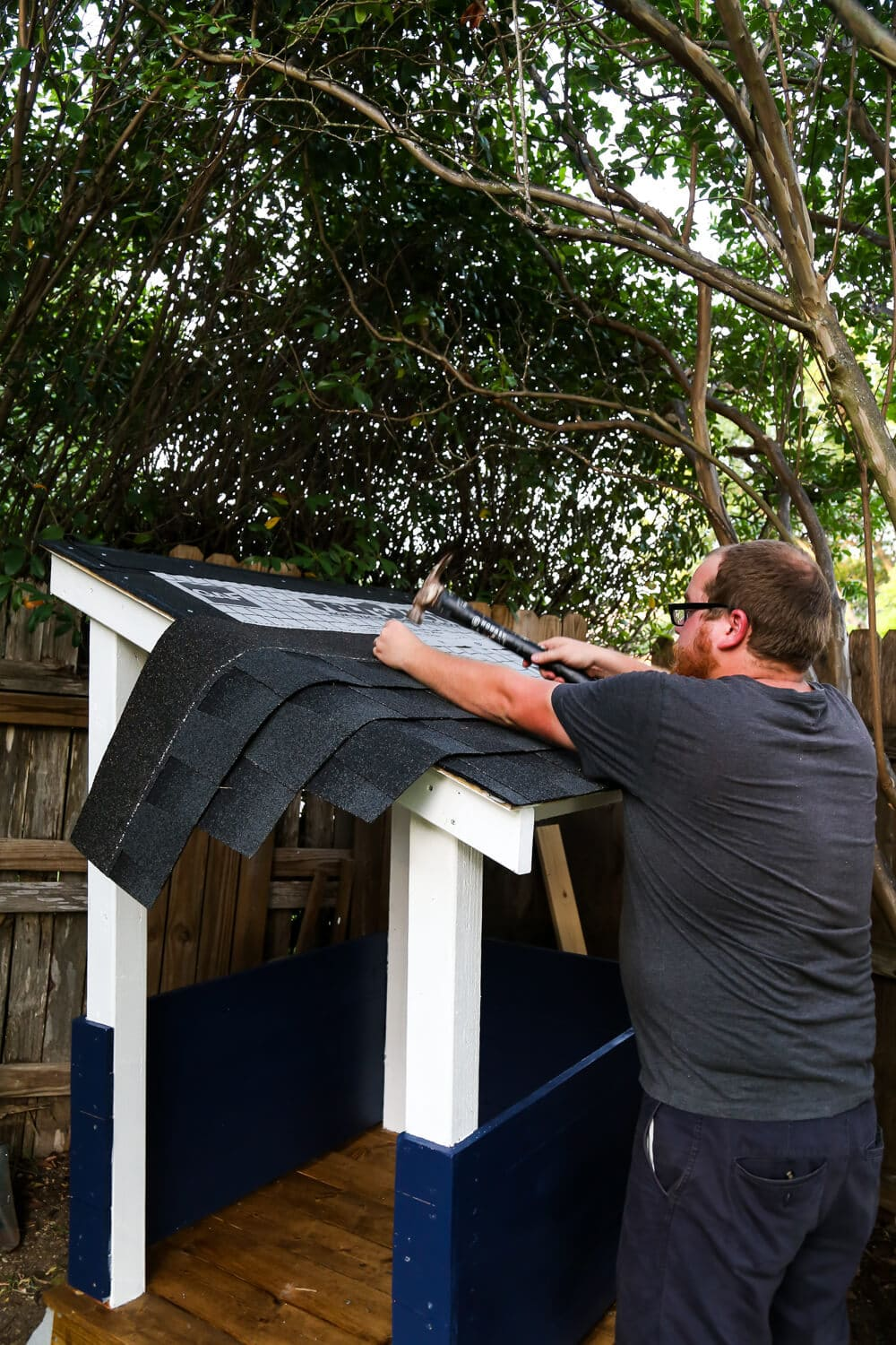 Installing playhouse roof shingles