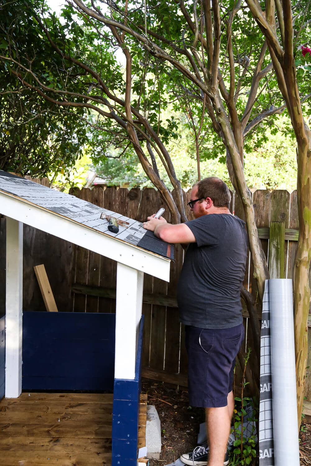 installing shingles on playhouse roof