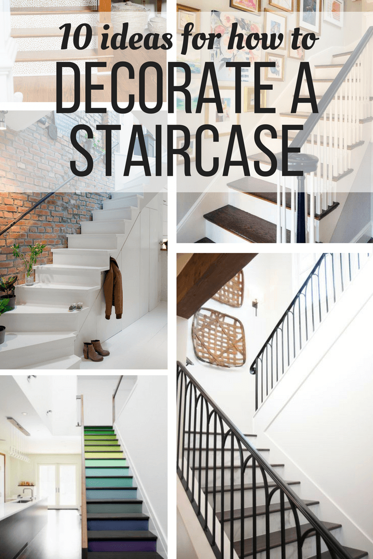 Ideas and inspiration for how to decorate a staircase affordably and simply. Includes 10 great ideas for how to decorate the wall behind your stairs, and ideas for products to use.