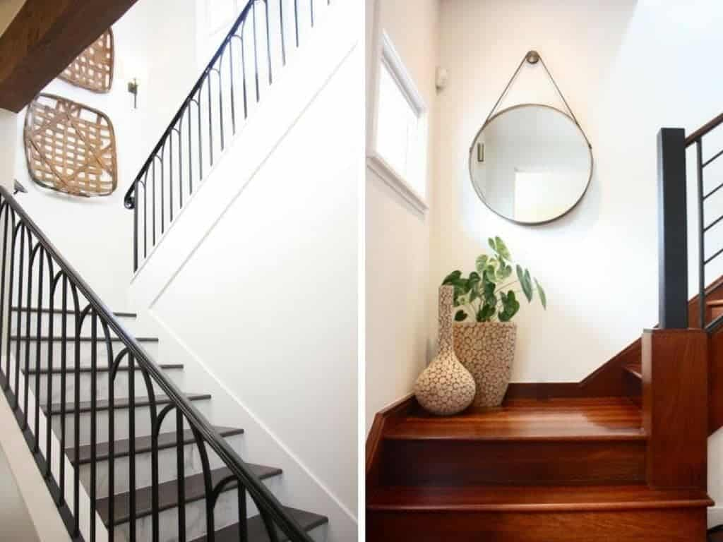 Great ideas for how to decorate a staircase using gallery walls, molding, and more