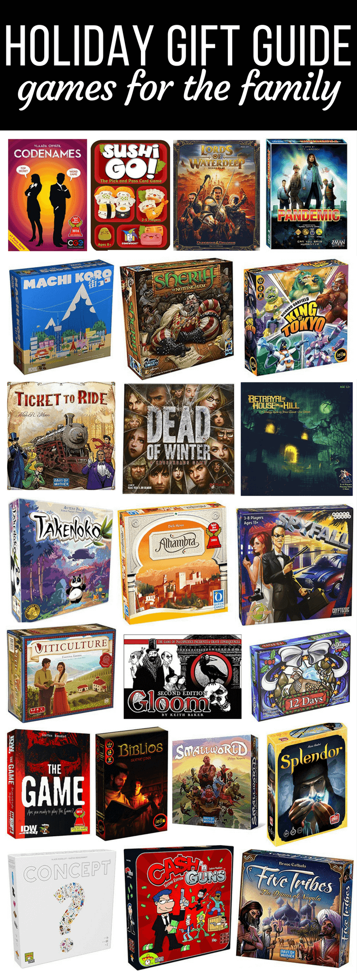 A Christmas gift guide for families who love to play games. Ideas for kids for Christmas, ideas for family gifts, and tons of board game gift ideas.