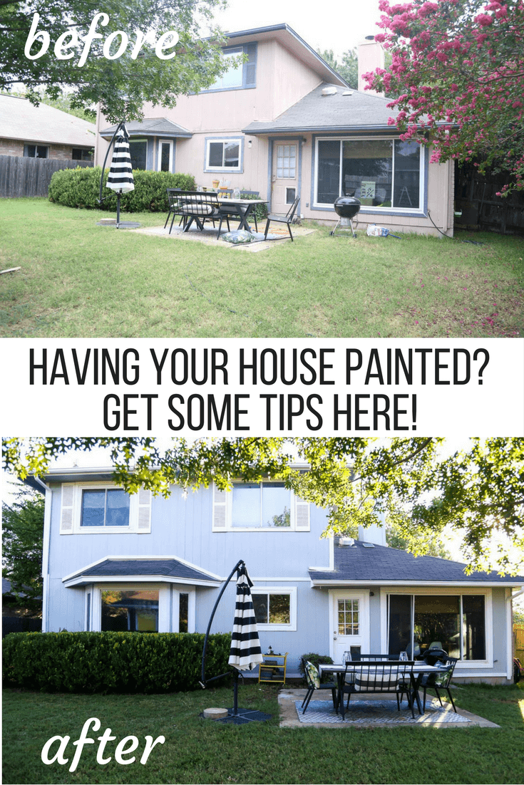 Before and after photos of having house exterior painted professionally, ideas for what to expect when your siding is getting painted, and tips for how to plan.