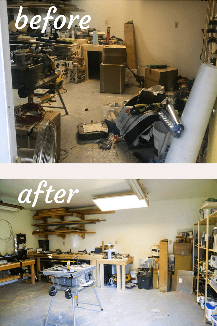 Before and after photos of an organized space after a 30 day organizing challenge using the Konmari method