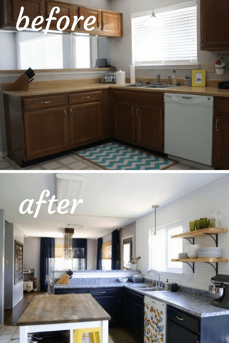 Before and after photos of a DIY budget kitchen renovation. Gorgeous kitchen makeover that has a bright, modern farmhouse feel