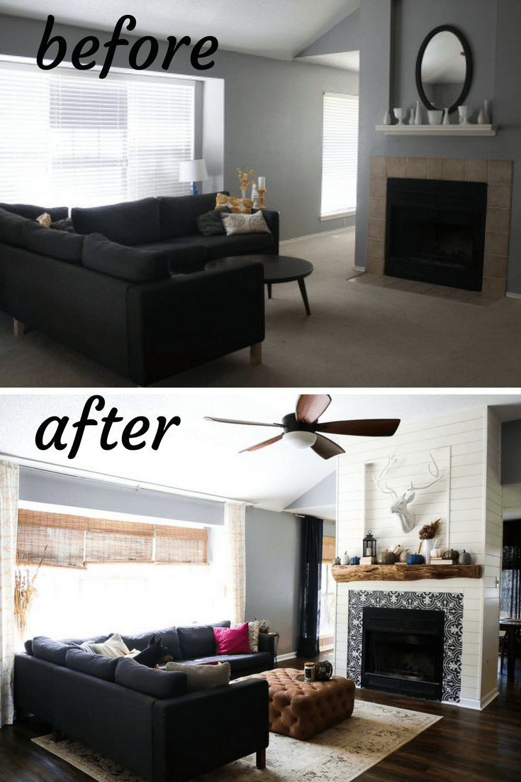 Before and after living room renovation photos - a gorgeous living room transformation with a DIY fireplace renovation