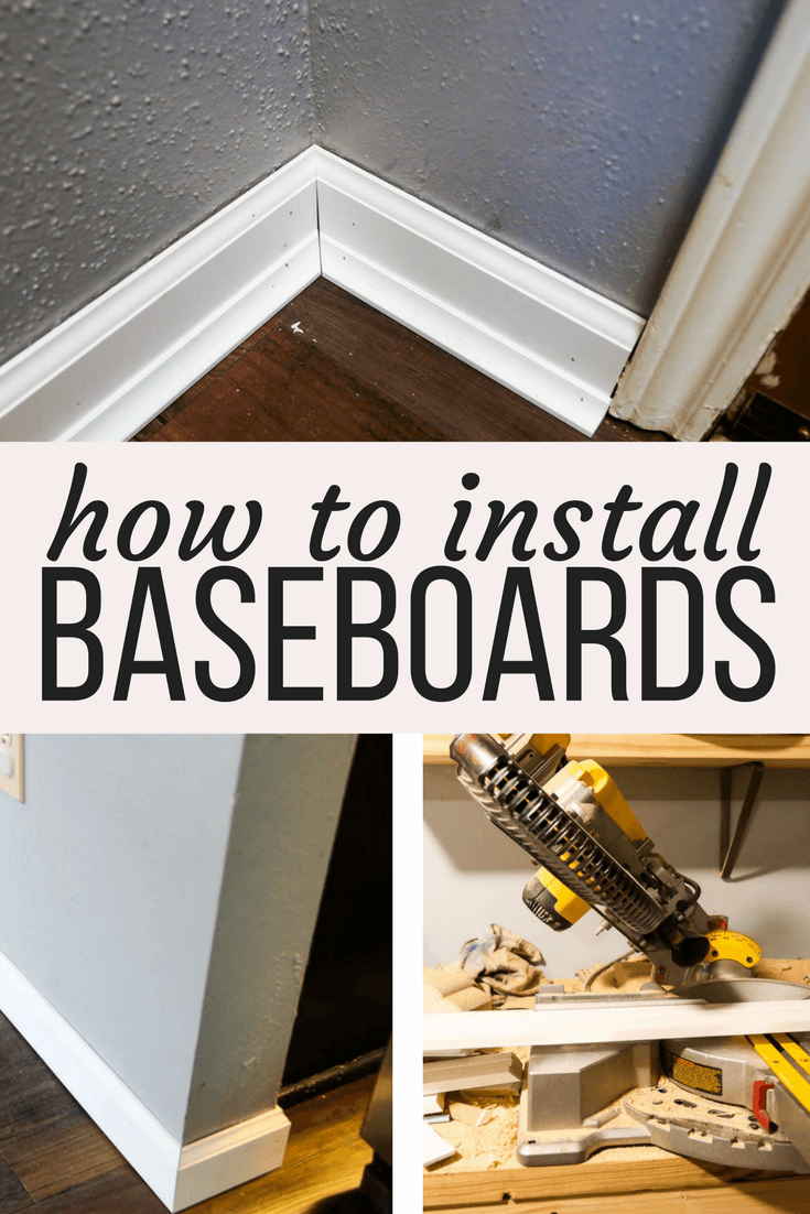 A DIY tutorial for how to install baseboards in your home using a nail gun, even if you've never done it before! This is a DIY project for the home that will make a major impact!