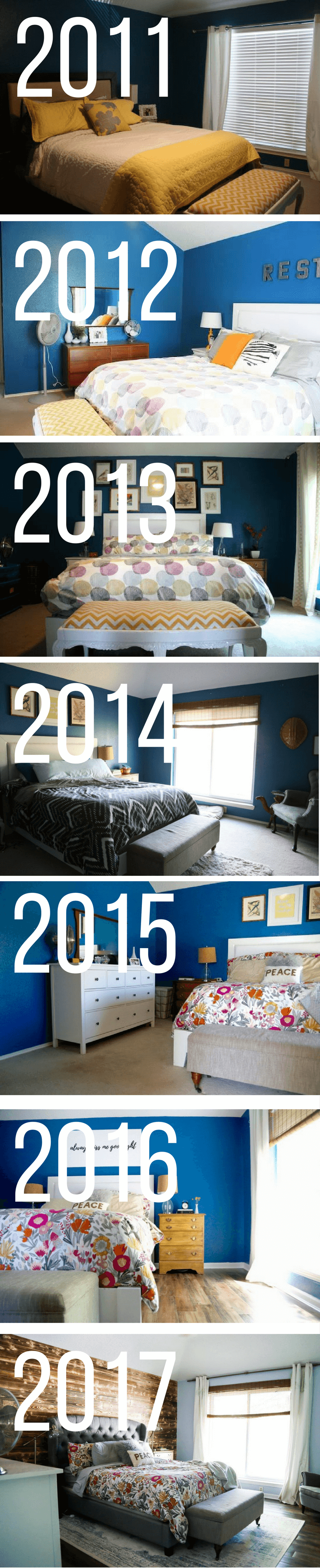 A master bedroom renovation throughout the years - before and after photos of a DIY master bedroom renovation