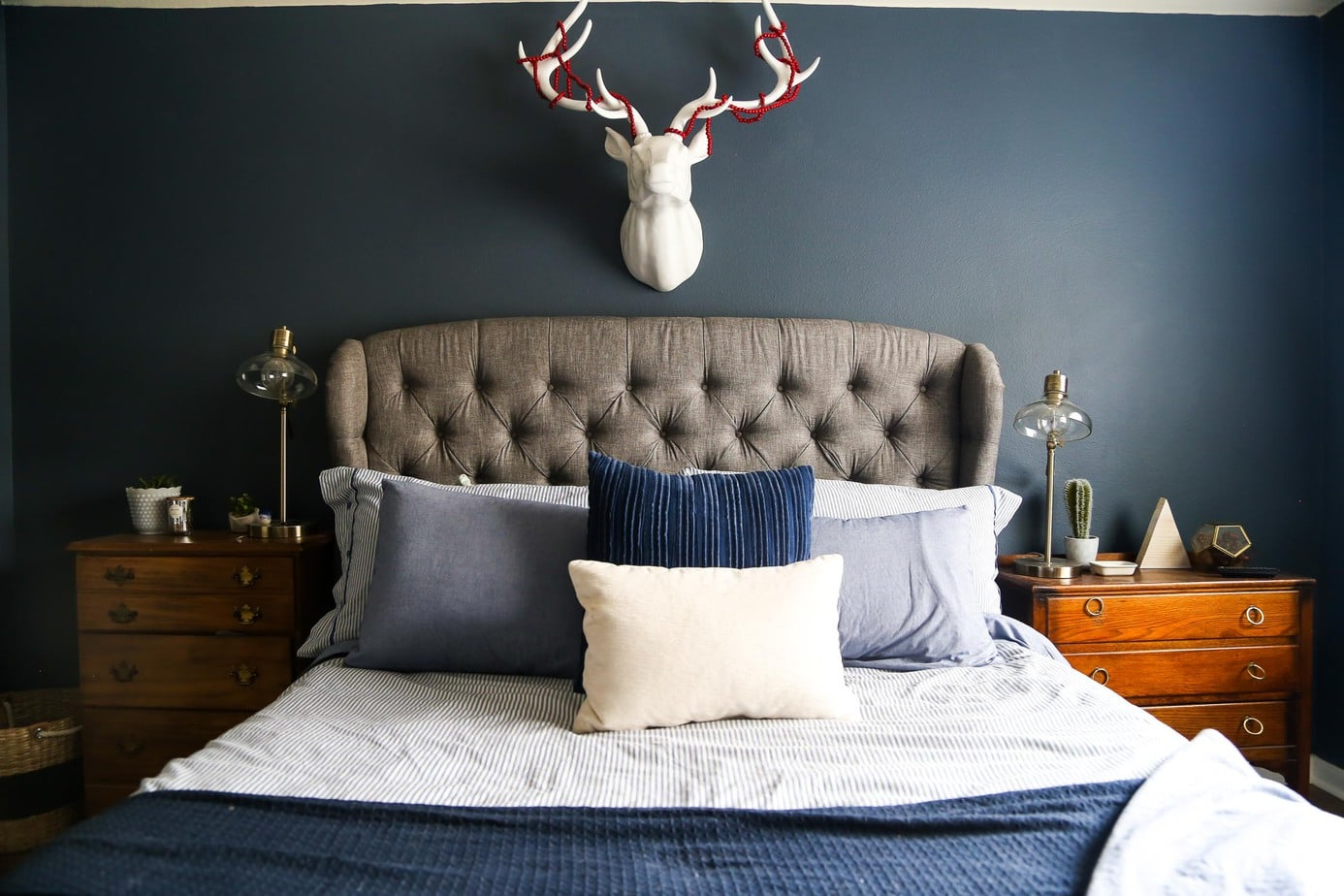 A cozy, moody, and beautiful master bedroom, along with an Eve Mattress review - all of the details on if you should get this mattress for your home.