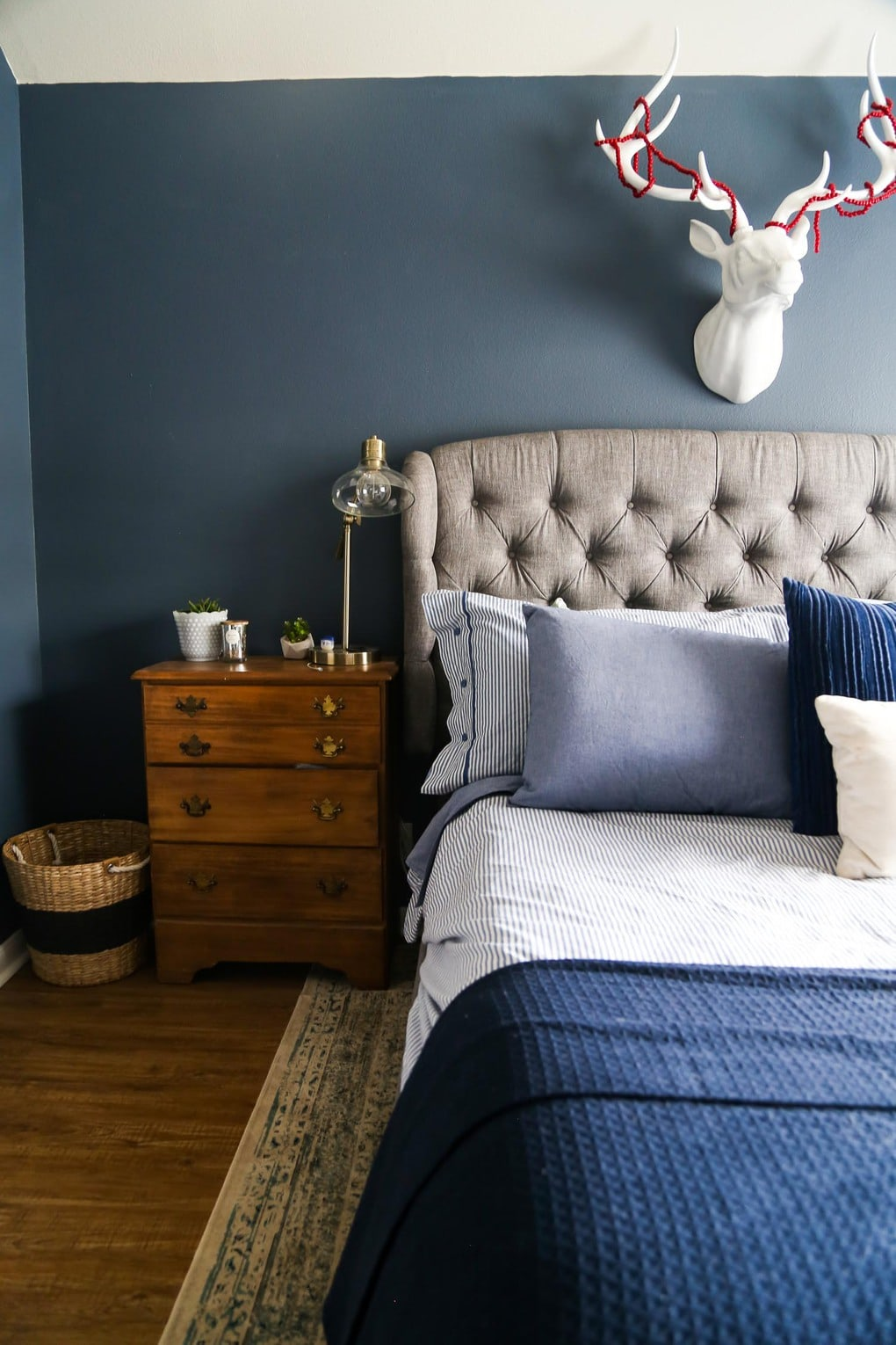Cozy, moody, and restful master bedroom