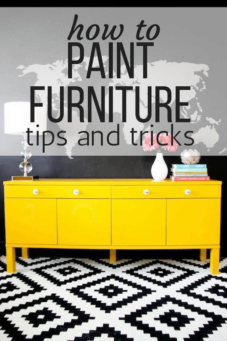 Yellow-painted sideboard with a map mural - how to paint furniture to make it fit your home better.