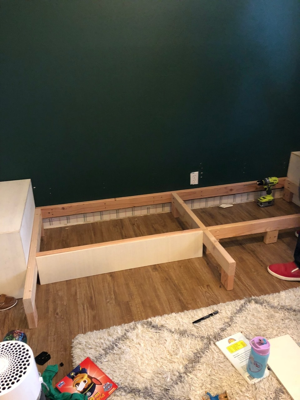 Framing for DIY built in shelves with plywood
