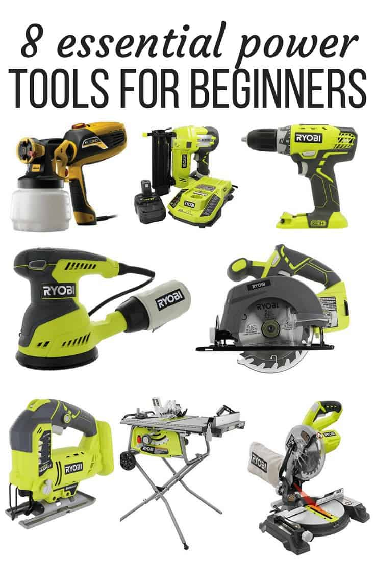"""A collage of 8 different woodworking tools great for beginners with text overlay - """"8 essential power tools for beginners"""""""