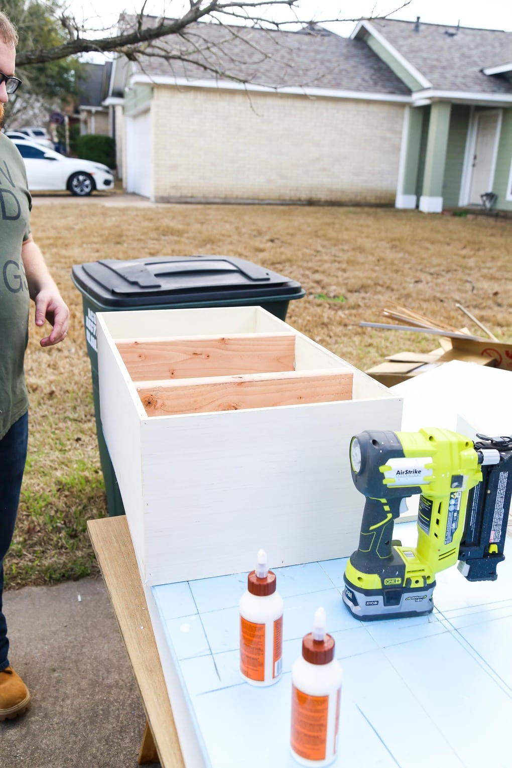 Plywood box being built outdoors