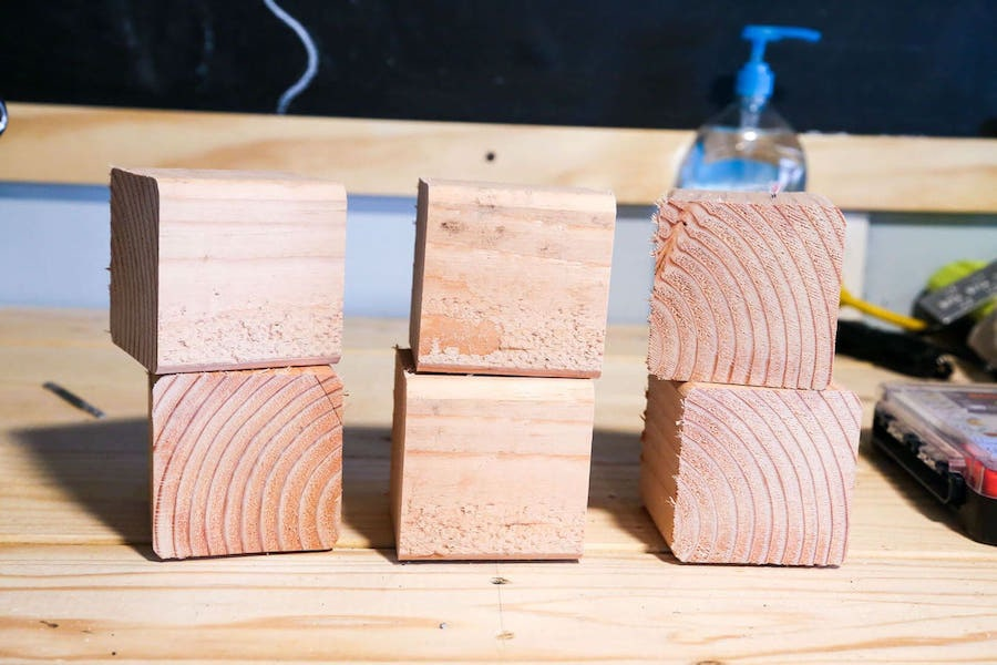 stack of wooden squares