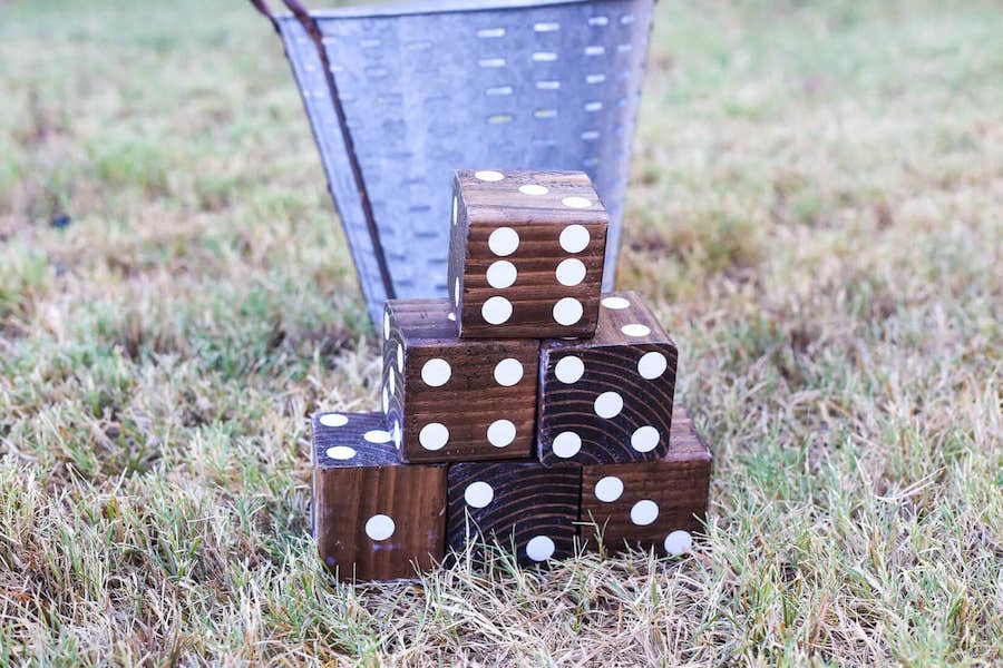 stack of wooden dice