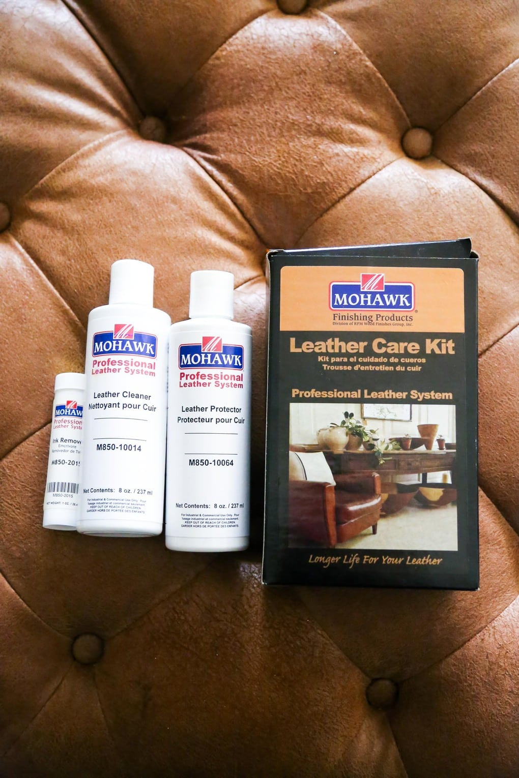 Mohawk Leather Care Kit - leather cleaner for ottoman