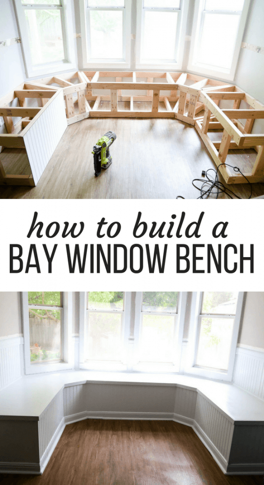 """collage of two images of a DIY bay window bench with text overlay - """"how to build a bay window bench"""""""