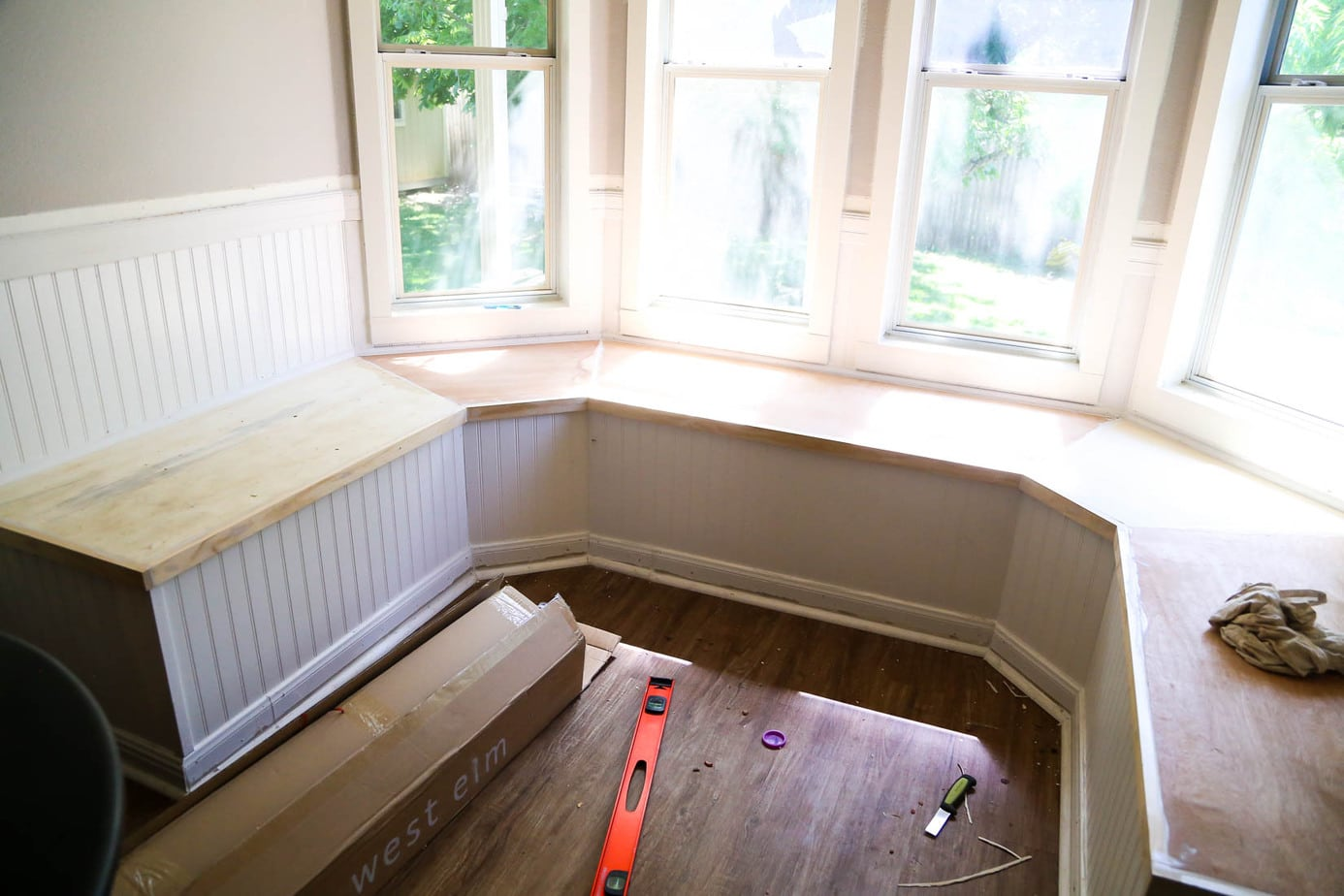Image of bay window bench after being built, but before painting