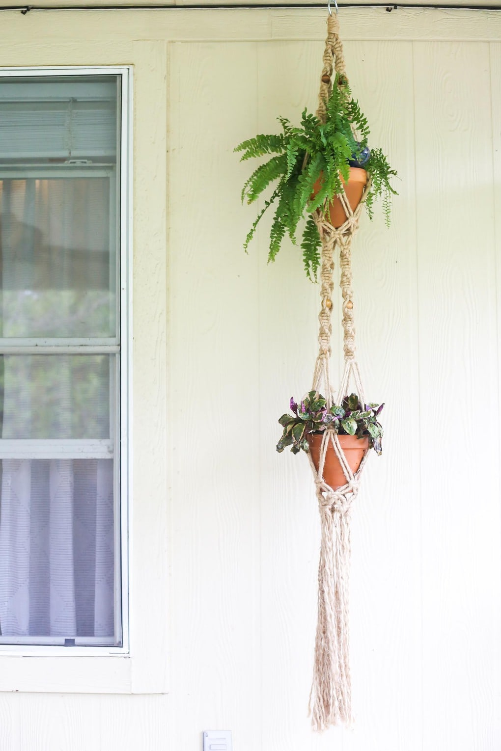 Hanging macrame planter with two plants