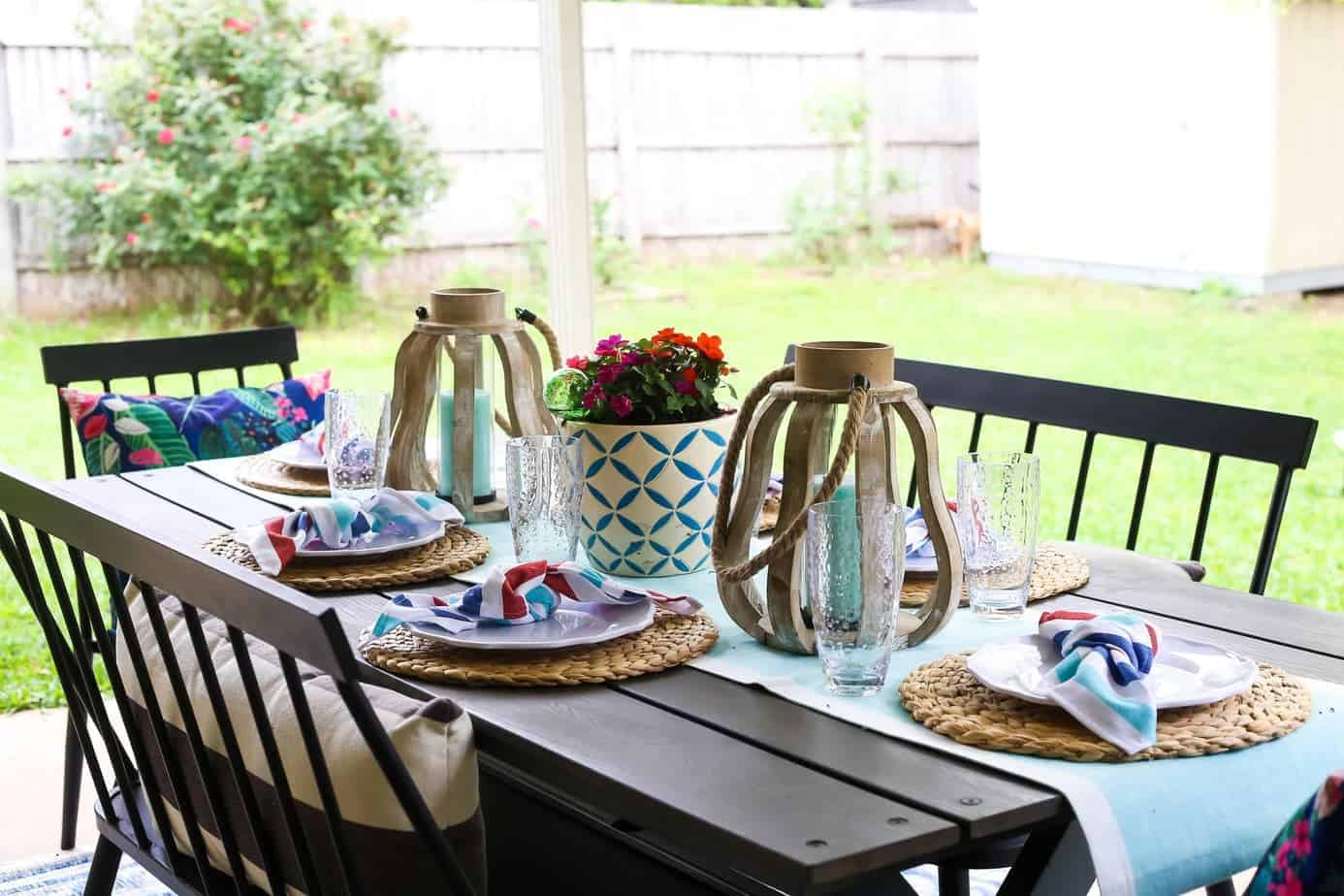 Patio table with blue and red decor